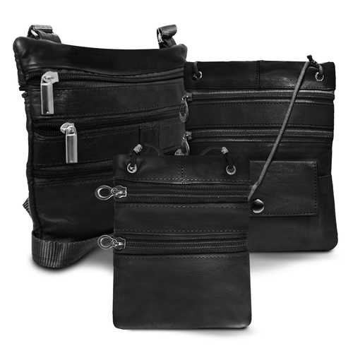 All Leather Set Of 3 Casual On The Go Bags