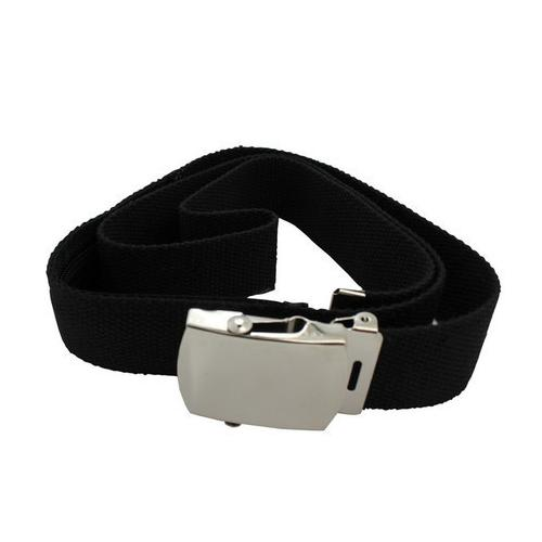 Canvas Belt With Back Zipper For Money Adjustable Size Black Color