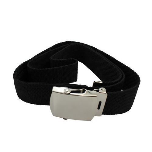 Canvas Belt With Back Zipper For Money Adjustable Size Black Color