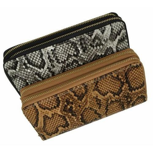 Double Zip Around Snake Print Wristlet Wallet
