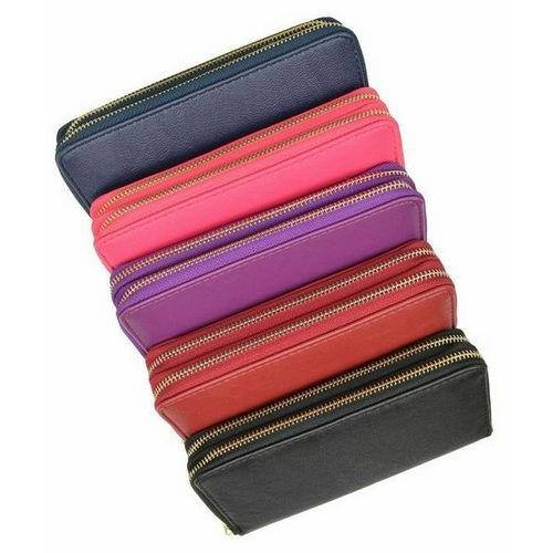 Double Zip Around Wristlet Clutch Wallet