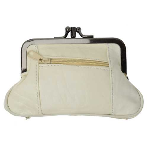 AFONiE Soft Leather Double Pocket Change Purse