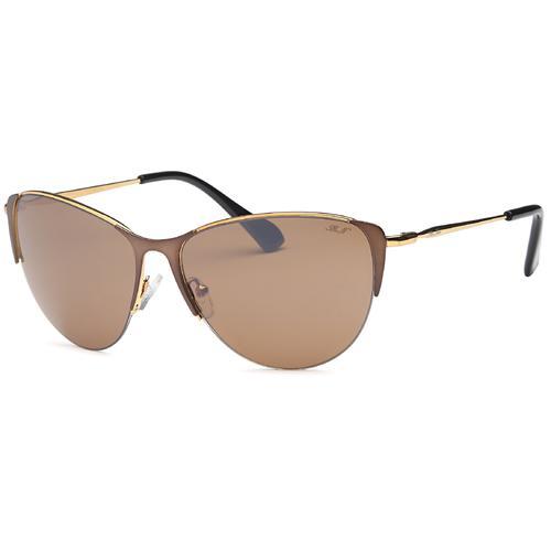 Brown Aviator Wrap Around Semi-Frame Sunglasses