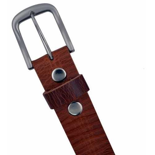 100% Cowhide Leather Snap On Buckle Belt