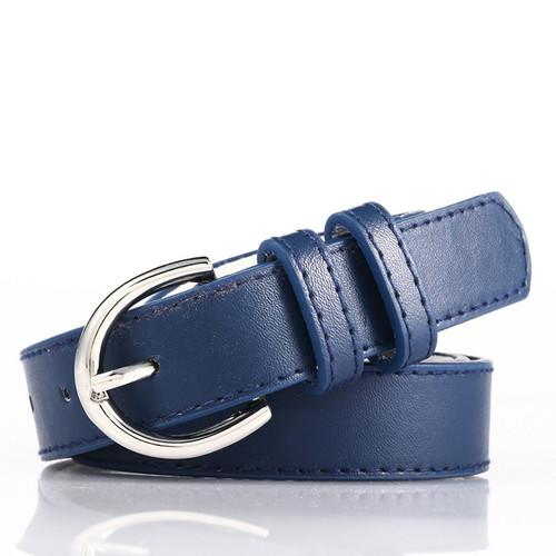 Navy Blue Bonded Leather Belt With Metal Buckle