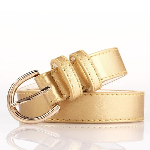 Glod Bonded Leather Belt With Metal Buckle