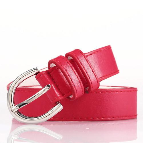 Red Bonded Leather Belt With Metal Buckle