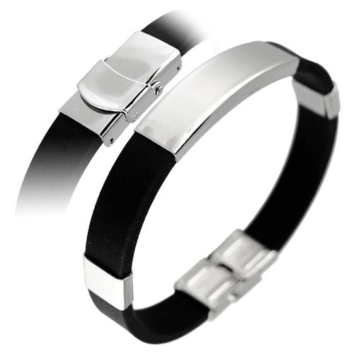 Black Rubber Bracelet with Stainless Steel ID Plate for Men