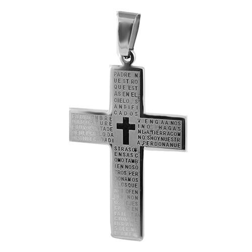Stainless Steel Cross Pendant with Padre Nuestro Praise Engraved