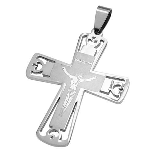 Stainless Steel Cross Pendant with Jesus engraving over Matte finish