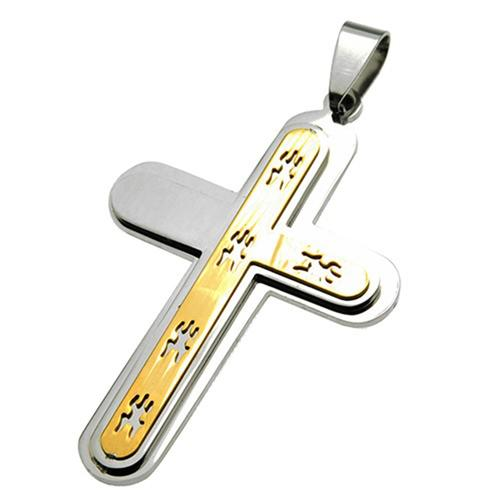 Men's Stainless Steel Cross with Gold and cut out design