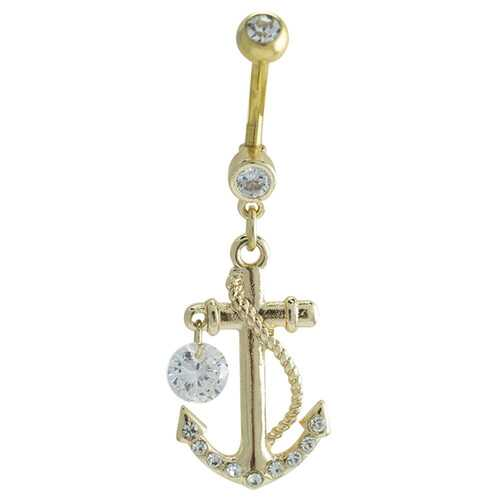 Clear Golden Anchor Dock Belly Button Ring