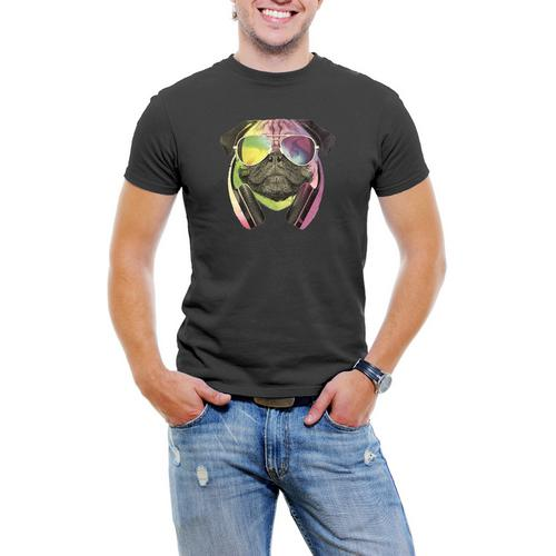 Colorful D.J Pug Men T-Shirt Soft Cotton Short Sleeve Tee