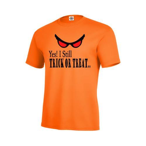 YES! I Still TRICK OR TREAT... Halloween Men Orange T-Shirt