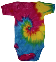Colorful Tie Dye Spiral Infant Romper Creeper Assorted Colors Sizes 6mo-24mo