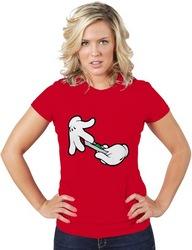 Womens Cartoon Hands Roll Joint T-shirt