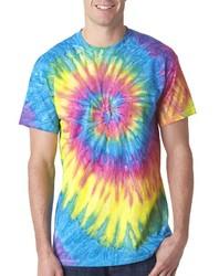 Twist Tie Dye Neon RainBow Men T-Shirt Soft Cotton Short Sleeve