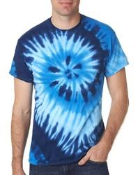 Twist Tie Dye Ocean Blue Men T-Shirt Soft Cotton Short Sleeve