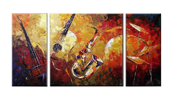 Music Instruments Wall Decor Oil Paintings On Canvas Various Abstract Designs 3 Panels