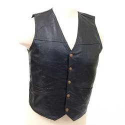 Mens Genuine Leather Vest Motorcycle Casual Chest Black