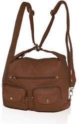 Category: Dropship Travel & Bags, SKU #CA-WS06BRW, Title: AFONiE- 3 In 1 Washable PU Series Handbag-Brown Color