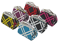 Stripes Lipstick Kiss Lock Coin Wallet-Assorted Colors