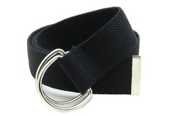 "Canvas Belt Double D-Ring Buckle 1.5"" Wide with Metal Tip"