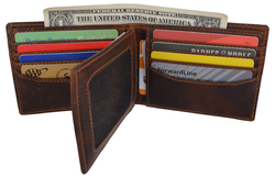 Distressed 14 Card Brown Leather Wallet