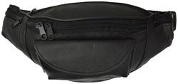 AFONiE Genuine Leather Five Zipper Pocket Pouch