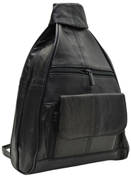 Category: Dropship Travel & Bags, SKU #MA-128-Y-13, Title: Leather Sling Organizer Leather Backpack