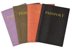 Travel Wallet Leather Passport Case - Assorted Colors