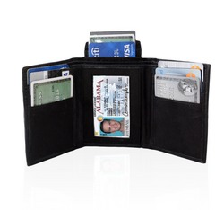 AFONiE Genuine Leather Tri-fold Wallet For Men