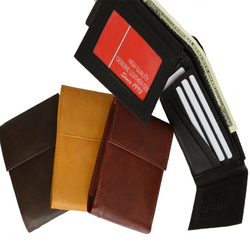 AFONiE Genuine Leather Bifold Men Safe Wallet with Velcro Closure
