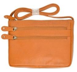 Genuine Leather Zipper Cross Body Bag