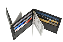 Double Money Clip Leather Wallet