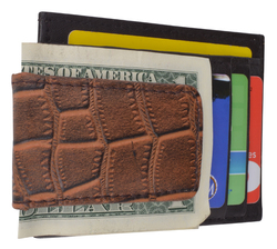 Men's Croco Card Case with Magnetic Money Clip