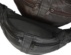 Genuine Leather Four Zipper Pouch