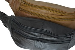 Genuine Leather 3 Zipper Travel Pouch