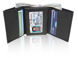 AFONiE RFID-Blocking Soft Genuine Leather Tri-fold Wallet For Men