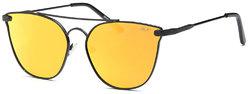 Fashion Teardrop Mirror Flat Lens Metal Frame Aviator Sunglasses 58mm