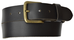 AFONiE Genuine Leather Belt with Bronze Buckle