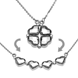 2 in 1 Heart Necklace with movable links to transform it a Shamrock charm