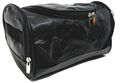 Soft Patch Leather Zipped Travel Toiletry Bag Unisex Supply Toiletry Bag Case
