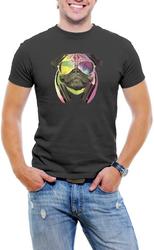 Colorful D.J Pug Men T-Shirt Soft Cotton Short Sleeve Tee