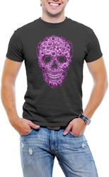 Flowered Skull Men T-Shirt Soft Cotton Short Sleeve Tee