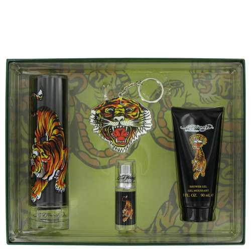 Ed Hardy by Christian Audigier Gift Set -- 3.4 oz Eau De Toilette Spray + 3 oz Shower Gel + .25 oz Mini EDT + Keychain (Men)