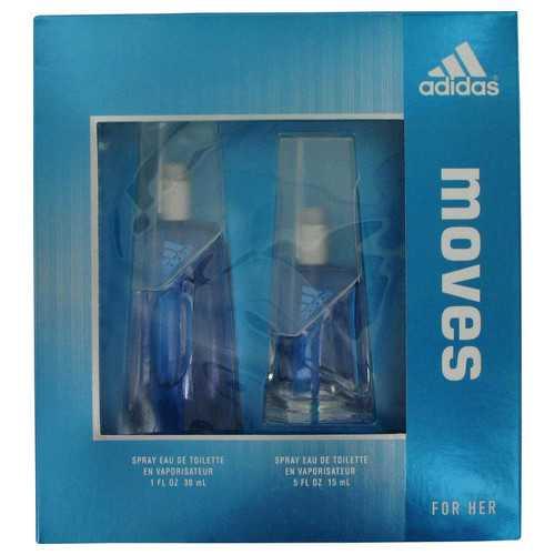 Adidas Moves by Adidas Gift Set -- 1 oz Eau De Toilette Spray + .5 oz Eau De Toilette Spray (Women)