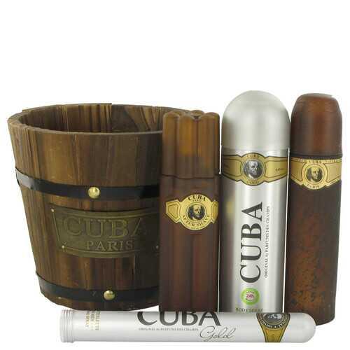 Cuba Gold by Fragluxe Gift Set -- 3.4 oz Eau De Toilette Spray + 1.17 oz Eau De Toilette Spray + 6.7 oz Body Spray + 3.3 oz After Shave (Men)