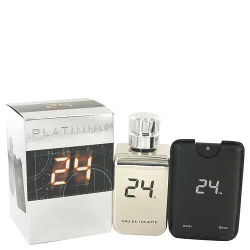 24 Platinum The Fragrance by ScentStory Eau De Toilette Spray + 0.8 oz Mini Pocket Spray 3.4 oz (Men)