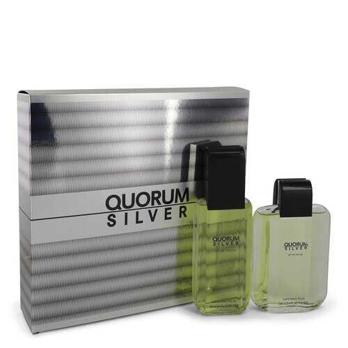 Quorum Silver by Puig Gift Set -- 3.4 oz Eau De Toilette Spray + 3.4 oz After Shave (Men)